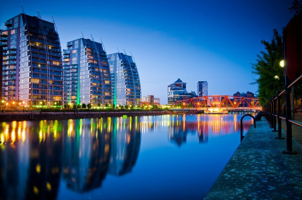 NV Buildings at night Salford Quays