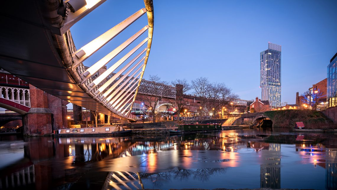 Castlefield Manchester UK With view of Beetham Tower.