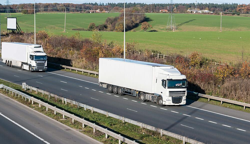 HGV travelling on motorway in UK