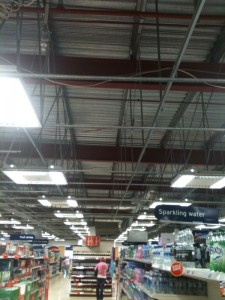 Sainsburys at Longwater, Norwich, where they have taken out all the ceiling tiles