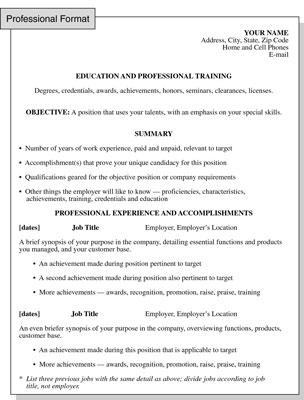 Professional Resume Format Focusing On Formal Training