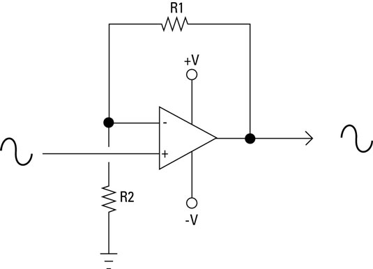 circuit diagram of non inverting amplifier 2002 dodge durango infinity sound system wiring electronics components closed loop amplifiers dummies the formula for calculating gain a noninverting is little different from an