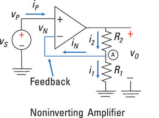 circuit diagram of non inverting amplifier pioneer radio wiring harness analyze noninverting op amp circuits dummies the voltage source vs connects to input vp