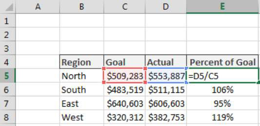 calculating percent of goal