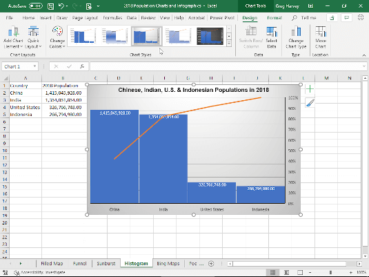 New Chart Amp Graphics Features On Excel 2016 Update Dummies