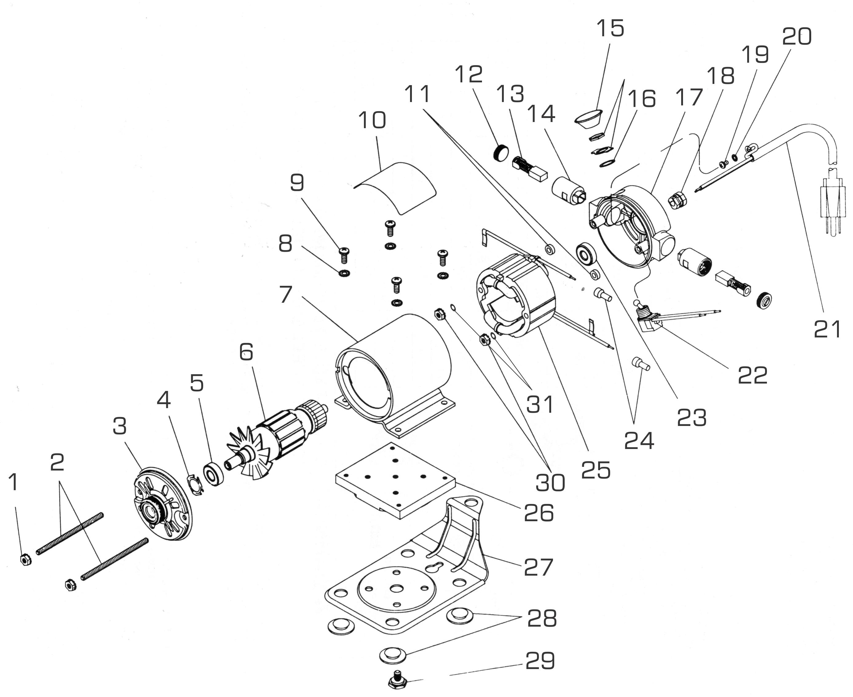 Dumore Series 1 Flexible Shaft Grinder Replacement Parts
