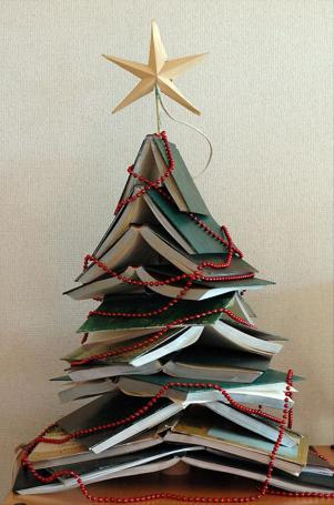Alternative Christmas Tree Ideas Non Traditional Trees Books Stacked Beads Lights Holidays