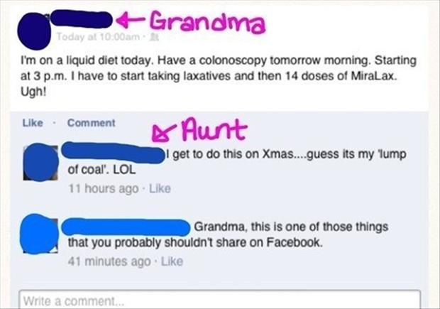 funny facebook updates, grandman on facebook
