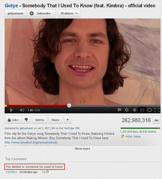 he is someone i used to know, funny youtube comments