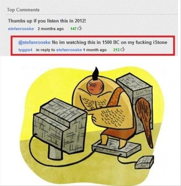 stoneage, funny youtube comments