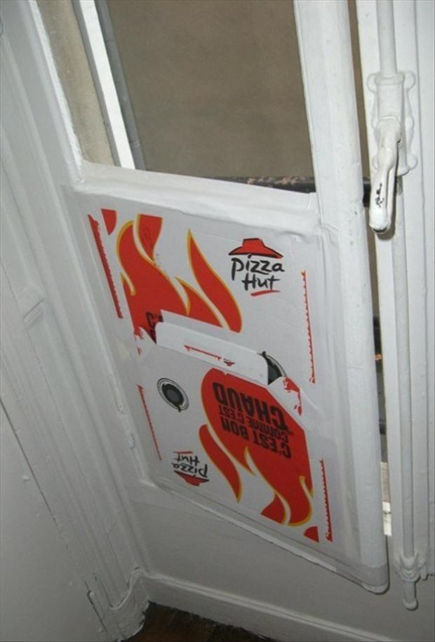 there i fixed it, pizza box on door