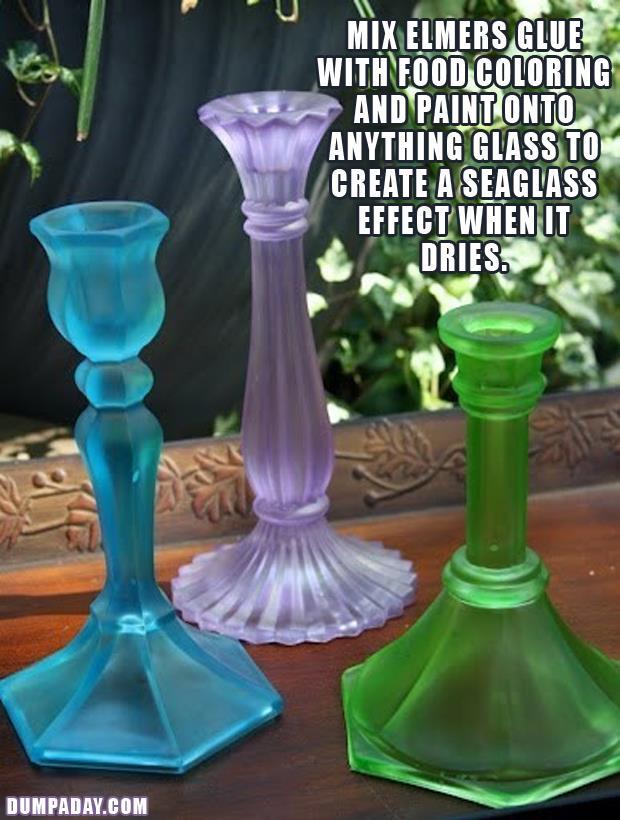 DIY Fun Crafts- Colored Seaglass candlestands