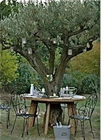 outdoor table under the tree back yard ideas - Dump A Day