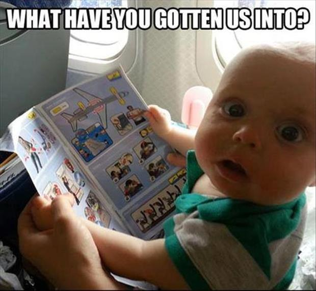funny baby on a plane