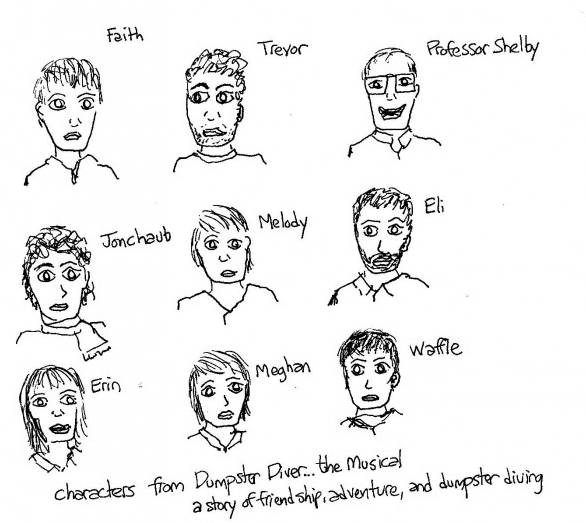 the characters of Dumpster Diver the musical