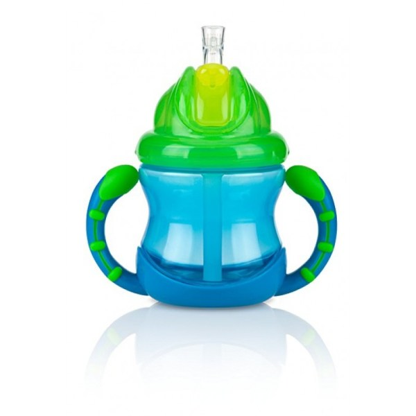 Nuby Two-handle Flip ' Sip Straw Cup Blue With Green Feeding Cups & Water Bottles