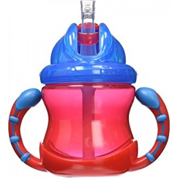 Nuby Two-handle Flip ' Sip Straw Cup Red With Blue Feeding Cups & Water Bottles