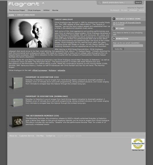 flagrantrecords.com - artist page