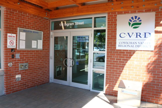 Front Entrance Door to the C.V.R.D Building on Ingram Street (photo by DuncanTaxpayers.ca)