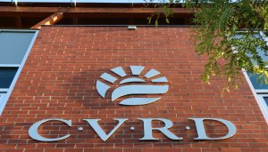 CVRD logo on the front of the CVRD building on Ingram Street in downtown Duncan (photo by Duncan Taxpayers)