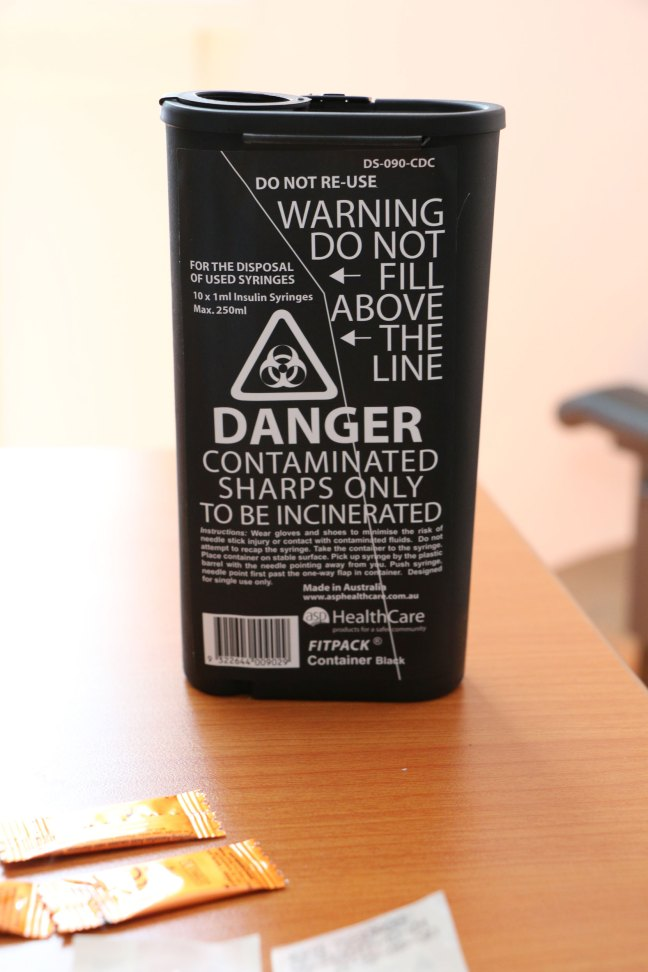 "The Needle Exchange in Duncan hands out these ""Contaminated Sharps) containers free of charge. The containers are made of sturdy plastic. (photo by DuncanTaxpayers.ca)"