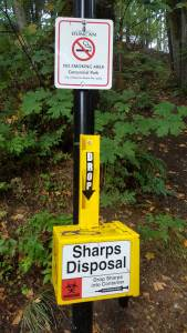 A secure Sharps Disposal box in Duncan's Centennial Park (photo by DuncanTaxpayers.ca)