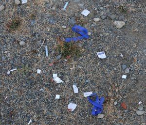 During a walk with the Warmland Sharps Disposal Team, we came across this drug use refuse left outdoors in a local park (photo by Duncan Taxpayers)