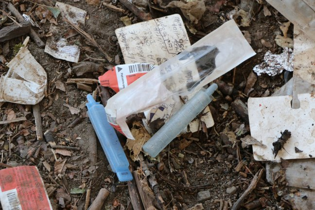 Some of the refuse encountered by the Warmland Sharps Disposal Team member at a drug activity site off Duncan Street (photo by Duncan Taxpayers)
