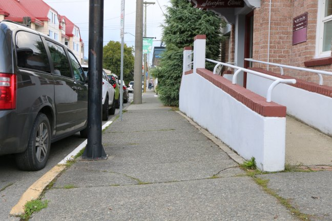 Sloped sidewalk on the east side of Jubilee Street in downtown Duncan. (photo by DuncanTaxpayers.ca)