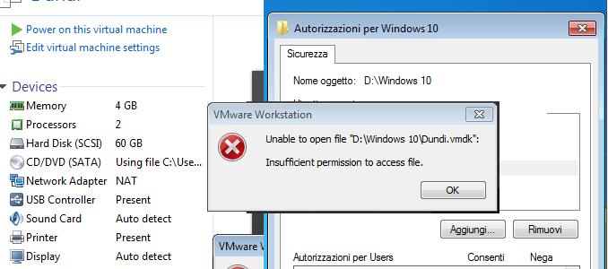 Soluzione vmware insufficient permission to access file