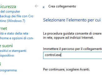 Windows 10 come creare un collegamento rapido al pannello di controllo