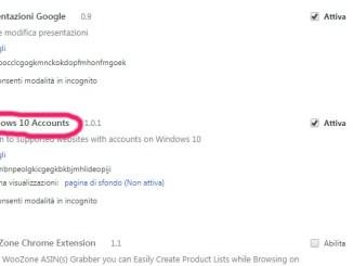 Estensione di microsoft windows 10 account per chrome