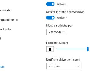 Come cambiare lo spessore del cursore in windows 10
