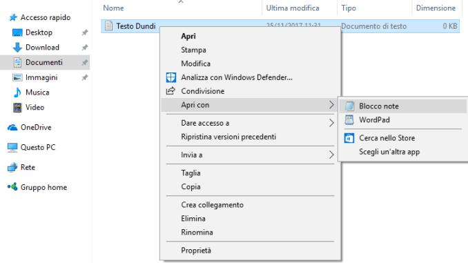 Come rimuovere apri con dal menu contestuale in windows 10