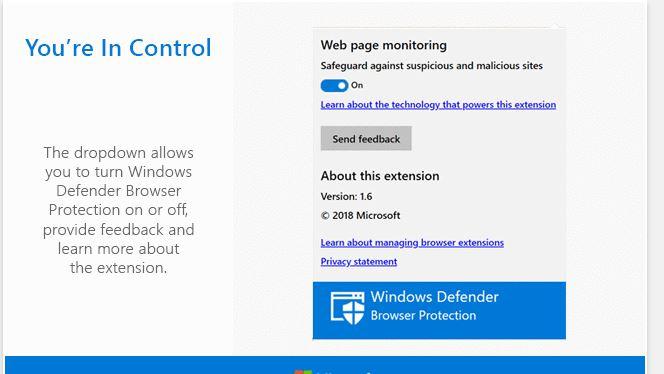 Windows defender estensione per chrome
