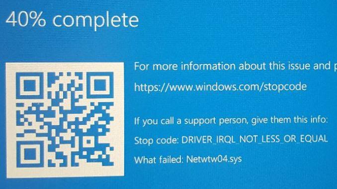 Schermata blu errore netwtw04 sys in windows 10