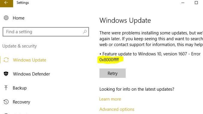 Come risolvere errore 0x8000ffff in windows update microsoft store