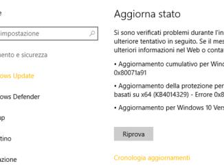Errore 0x80071a91 aggiornamento o backup ripristino di windows