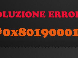 Errore 0x80190001 durante installazione di aggiornamenti in windows 10