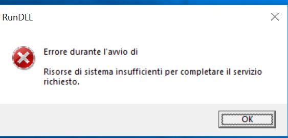 Risorse di sistema insufficienti per completare il servizio richiesta