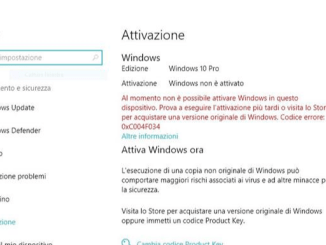 Errore durante attivazione di windows 10 product key