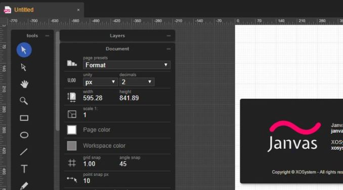 Janvas webb app per modificare file svg