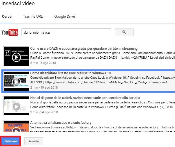 Come incorporare video di youtube su google documenti