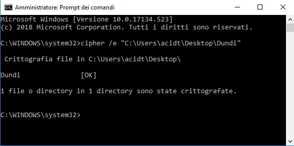 Criptare file e cartelle con prompt dei commandi su windows 10
