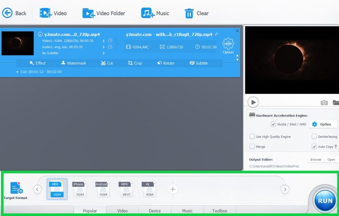 Come dividere video in videoproc