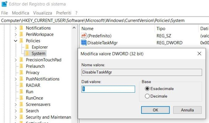 Come disabilitare task manager in windows 10