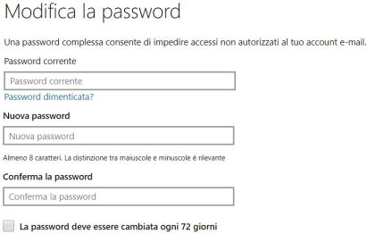 Cambiare la password in windows 10 con scadenza
