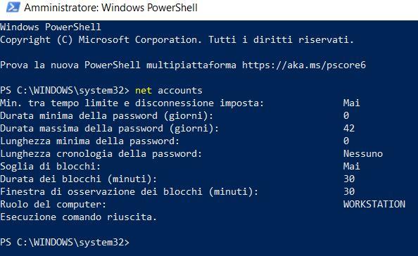 Come attivare la scadenza della password su windows 10 con powershell