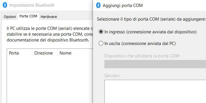 Come creare una porta com in windows 10
