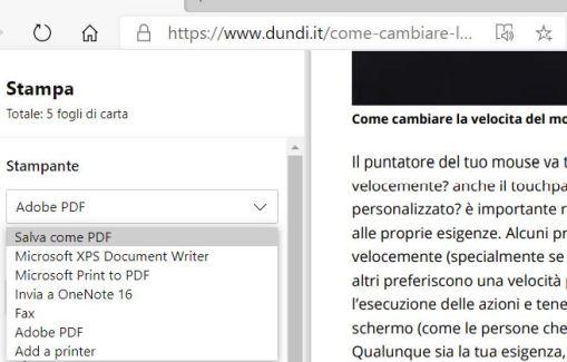 Come salvare una pagina web in pdf con microsoft edge